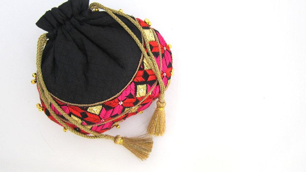 Black Phulkari embroidered potli