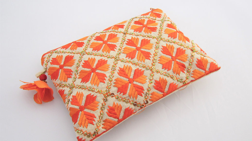 Orange 2 toned embroidered pouch
