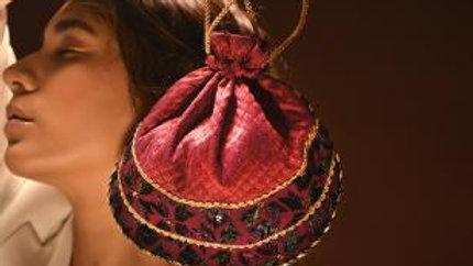 Plum Phulkari embroidered potli