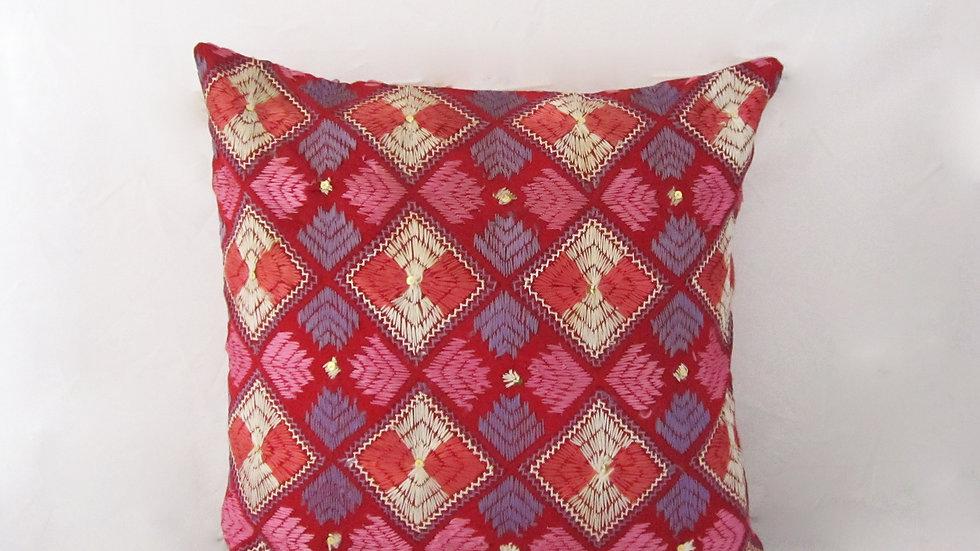 Pink Mauve and White Phulkari embroidered cushion cover