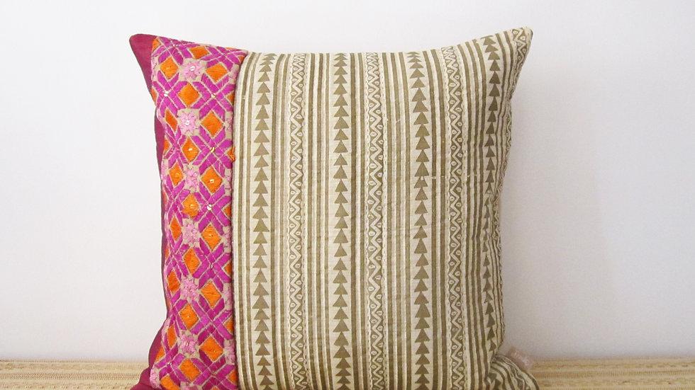 Block printed paneled Phulkari cushion cover