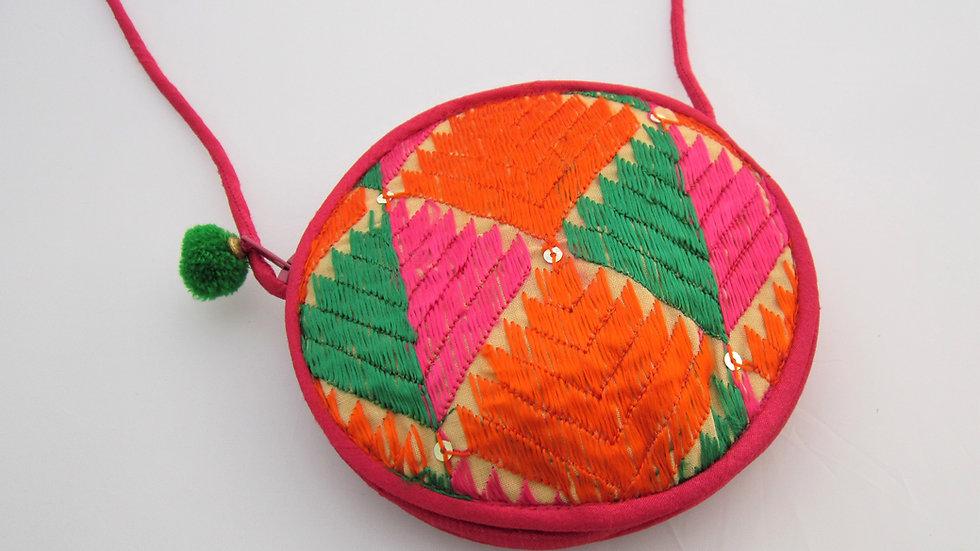 Round phulkari sling bags