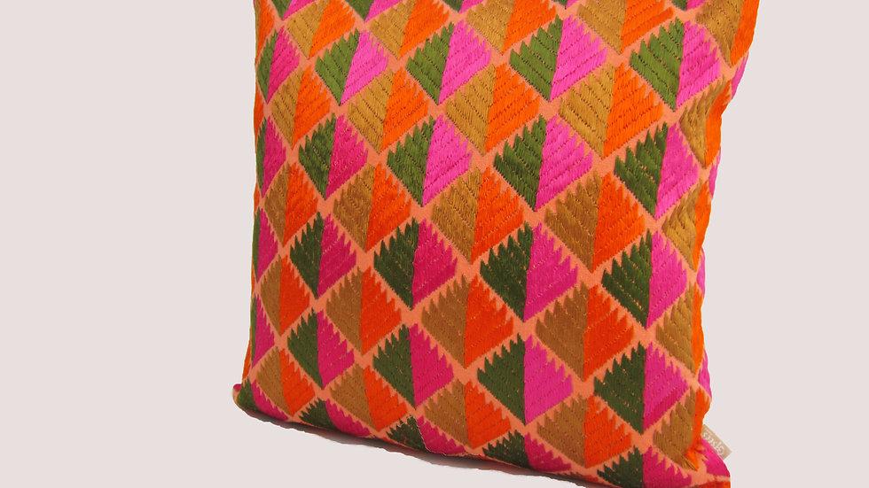 Multi color Phulkari embroidered cushion cover