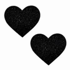 Black Glitter Heart Pasties - Neva Nude