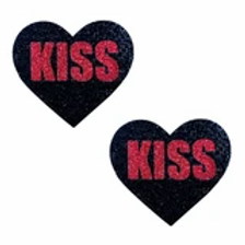 Red & Black Kiss Glitter Heart Pasties - Neva Nude