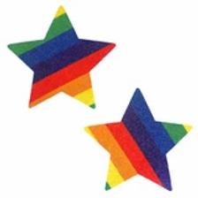 Rainbow Star Glitter Pasties - Neva Nude