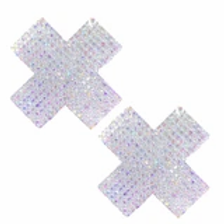 Irridesant crystal jeweled X Pasties - Neva Nude