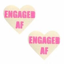 Engaged Bachelorette Glitter Heart Pasties - Neva Nude