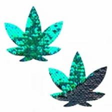 Ariel Green Black Flip Sequin Leaf Pasties