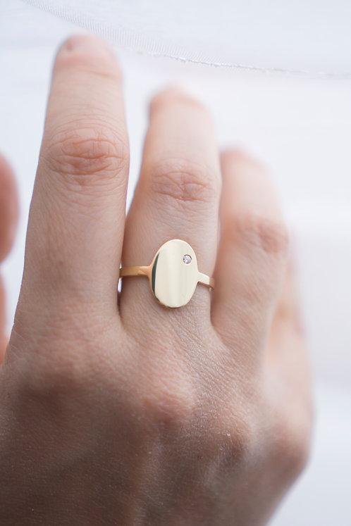 18kt geelgouden ring met ovalen zegel + briljant
