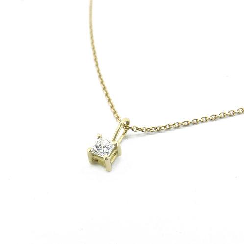 18kt geel gouden hanger met princesse cut diamant