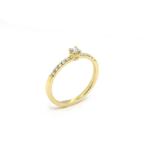 18kt geel goud verlovingsring met briljant