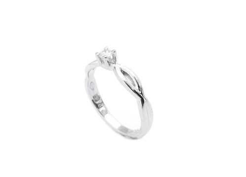 Verlovingsring wit goud + diamant