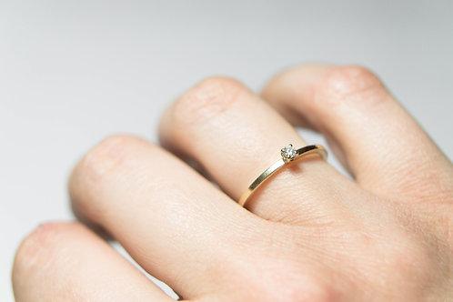Trouwringen geel goud + briljant / roosgouden gebombeerde ring