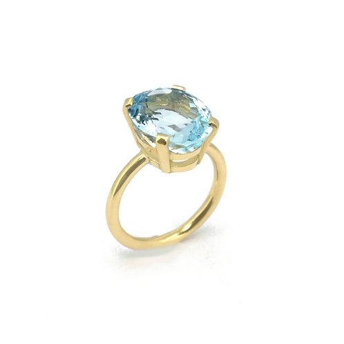 Ring met aquamarijn (uit oud goud)