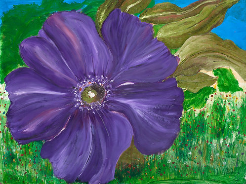purple flower, paper prints, peaceful, uplifting, joyful, inspiring, green leaves,