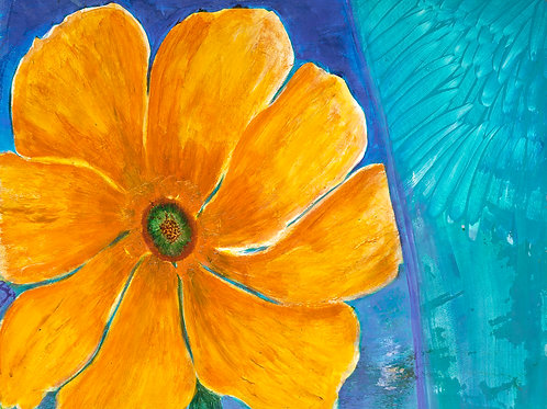 yellow flower, blue, canvas print, sunshine, inspiring, art canvas, paintings,