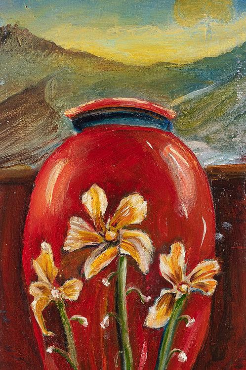 Red Antique Vase  # 6