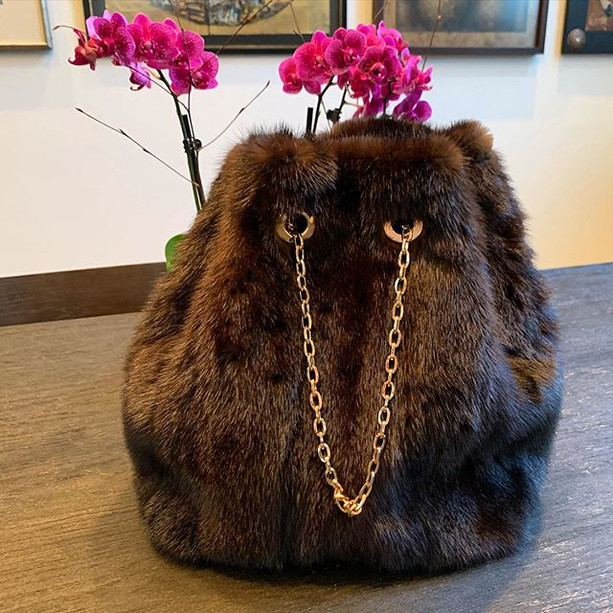 Mink bucket bag #upcycled #repurpose