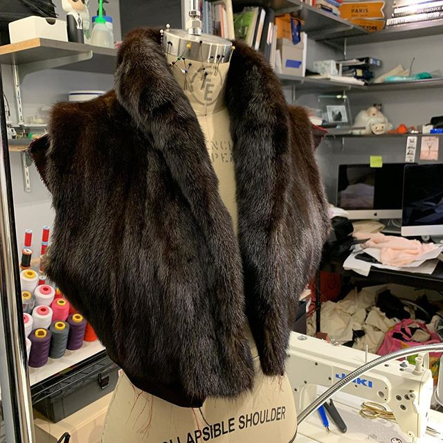 Mink vest from upcycled coat