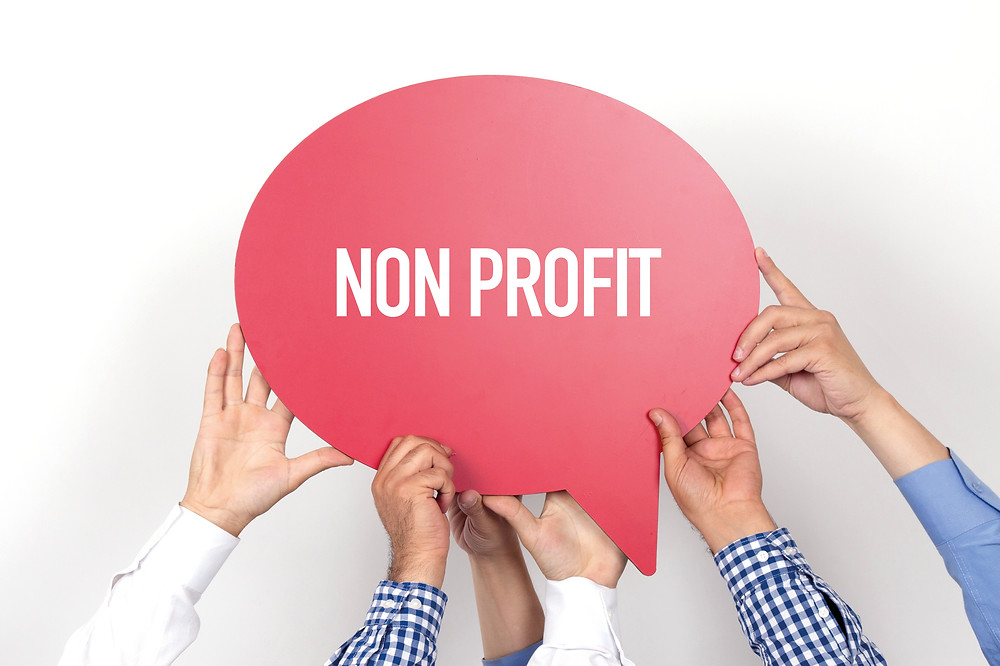 Group of people holding the NON PROFIT written speech bubble