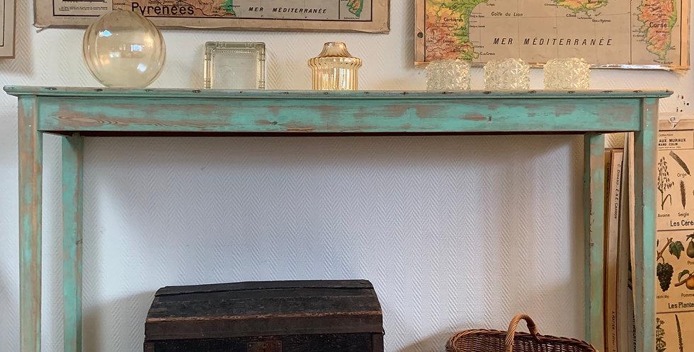 Console patine vert d'eau