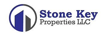 Logo for Stone Key Properties LLC - a round circle with two rectangular shaped buildings in the middle - one blue and one grey
