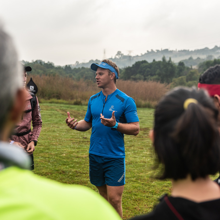Ambassador Tim Fey lead the groups along a technical course.