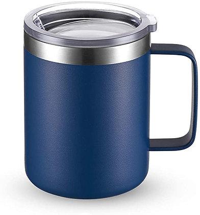 12oz Stainless Steel Insulated Coffee Mug + Handle & Sliding Lid
