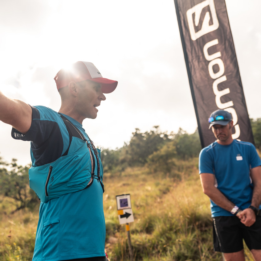 Ambassador Ryno Griesel lead the session on running downhill.