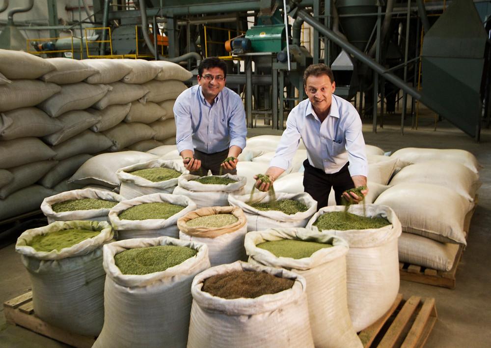 """Marcelo Oikawa (esquerda), gerente de exportação da Triunfo do Brasil, ao lado do presidente da empresa, Vilmar Gadens. """"Hoje a Triunfo está bem posicionada no mercado devido a qualidade do produto que fornecemos""""."""