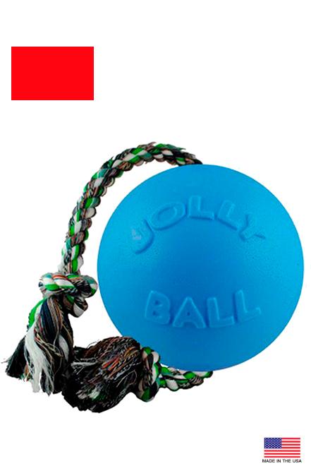 "Jolly Pets - Romp-n-Roll Pelota con cuerda Azul 6"""