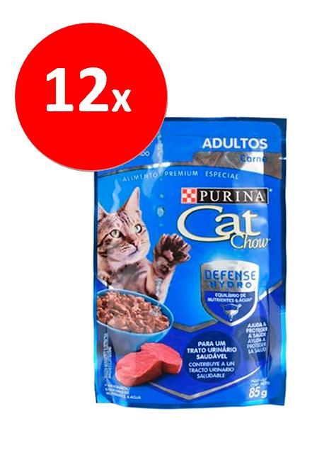 Cat Chow - PACK 12 unidades Adulto Carne Sachet 85Gr.