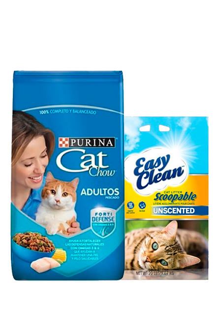 Cat Chow - PACK Adulto Pescado 8Kg + Arena 9Kg.