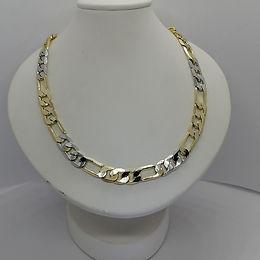 Incre�ble Cadena de Eslabones Dos Tonos en Oro Laminado 60cm