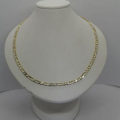 Incre�ble Cadena de Eslabones Bitono Delgada Oro Laminado 55cm