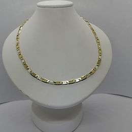 Incre�ble Cadena Planchada Bitono de Oro Laminado 55cm