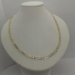 Cadena Eslabones Bicolor Diamantada 50cm Oro Laminado