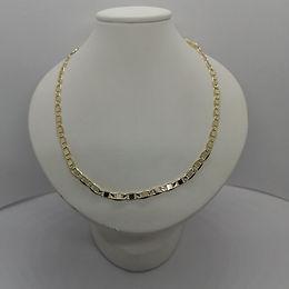 Elegante Cadena Corta Eslab�n Espejo 50cm Oro Laminado