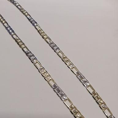 Incre�ble Cadena de Eslabones de Dos Tonos Diamantada en Oro Laminado 60cm