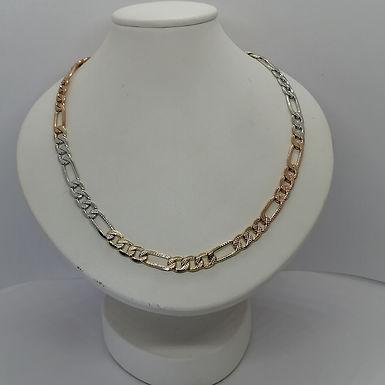 Incre�ble Cadena de Eslabones Tres Tonos Facetada en Oro Laminado 60cm