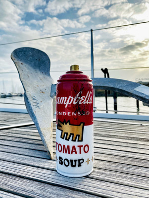 Campbells soup and the dog at the beach