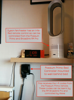 Possum Primo Bed Controller on wall