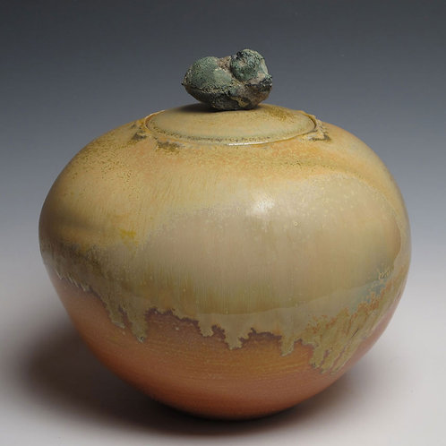Covered Jar #45, Green stone handle