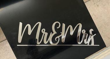 Laser cut mirror acrylic lettering