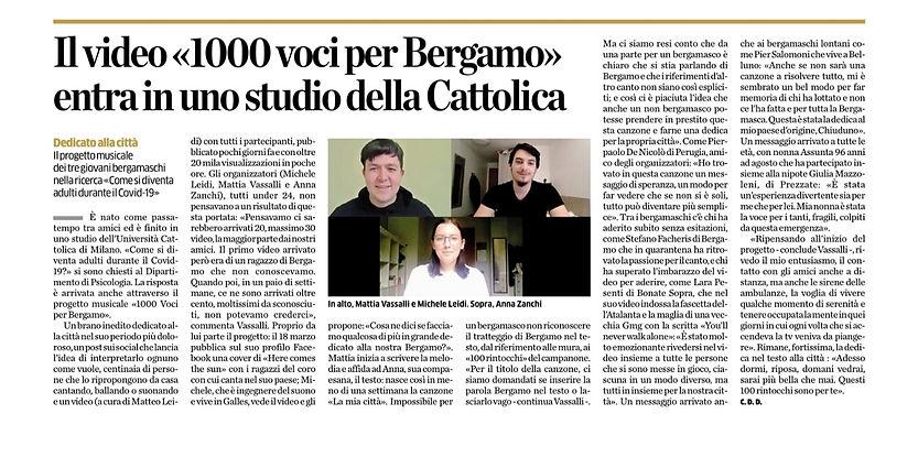Eco di Bergamo - 21 maggio 2020