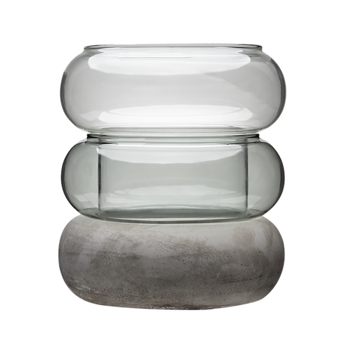 Bagel Lantern/Vase Gray 18,5cm