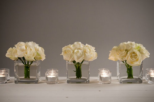 3 Cube Vases with domes of roses with votives