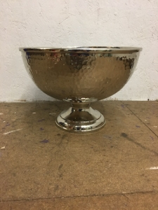 Silver Dimpled Metal Bowl