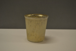 Frosted Gold Crackle Glass Votive